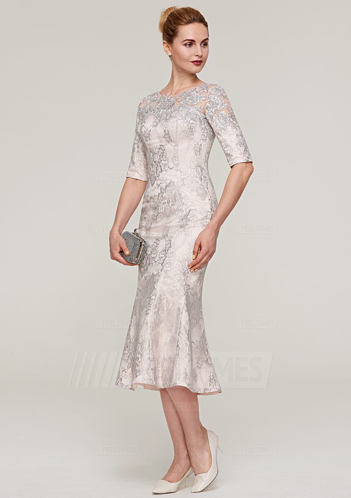 Sheath/Column Bateau Half Sleeve Tea-Length Lace Mother Of The Bride Dress With Appliqued