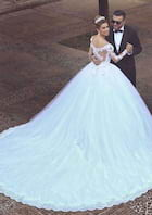 Ball Gown Off-The-Shoulder Full/Long Sleeve Cathedral Train Tulle Wedding Dress With Beading Lace Hem