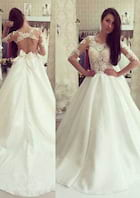 Ball Gown Bateau Half Sleeve Court Train Satin Wedding Dress With Appliqued Bowknot