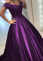 Ball Gown Off-The-Shoulder Sleeveless Long/Floor-Length Satin Prom Dress With Beading Appliqued