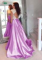 A-Line/Princess Scoop Neck Sleeveless Court Train Taffeta Prom Dress With Lace