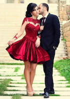 A-Line/Princess Scoop Neck Full/Long Sleeve Short/Mini Charmeuse Homecoming Dress With Appliqued Beading