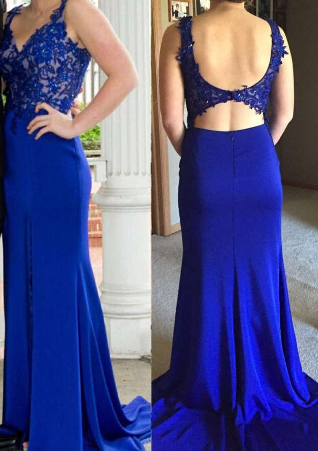 Sheath/Column V Neck Sleeveless Sweep Train Chiffon Prom Dress With Appliqued
