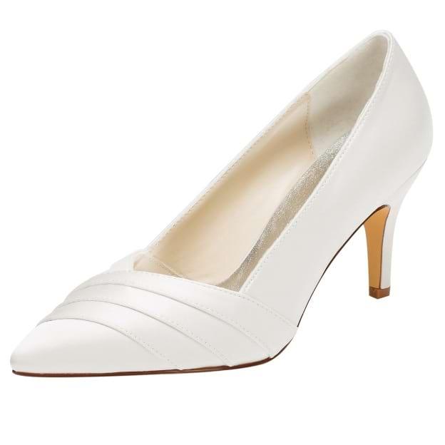 Close Toe Pumps Wedding Shoes Stiletto Heel Satin Wedding Shoes