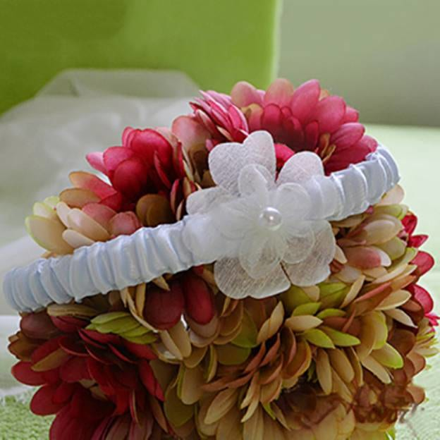 Satin Special Occasion Wedding Garter With Flowers