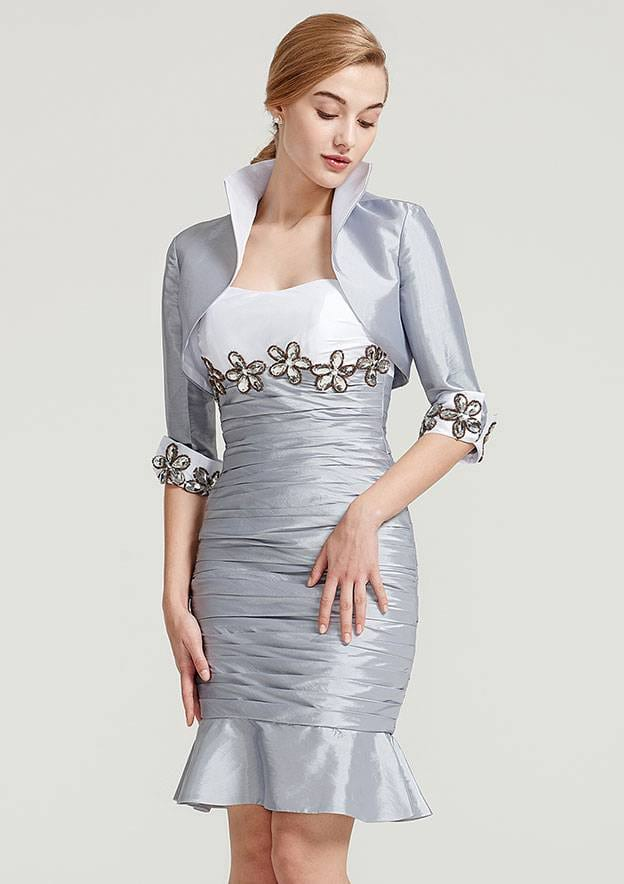 Trumpet/Mermaid Sweetheart Sleeveless Knee-Length Taffeta Mother Of The Bride Dress With Jacket Appliqued Pleated