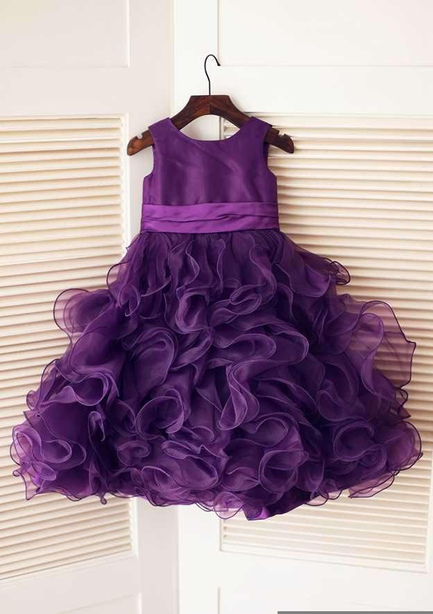 A-line/Princess Tea-Length Scoop Neck Sleeveless Organza/Satin Flower Girl Dress With Flowers