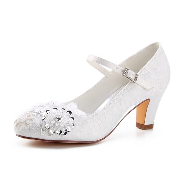 Women's Lace With Sequins/Appliqued Heels Close Toe Wedding Shoes