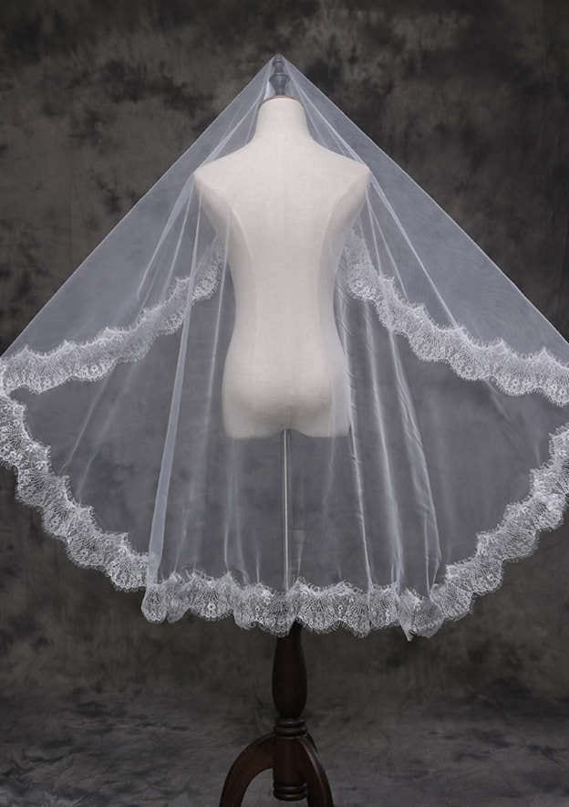 One-tier Lace Applique Edge Tulle Waltz Bridal Veils