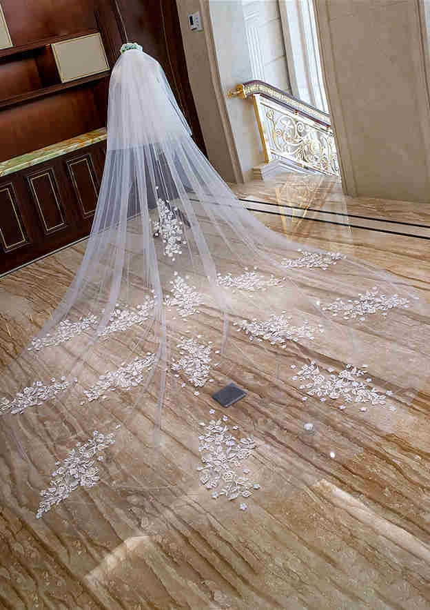 Two-tier Tulle Cathedral Bridal Veils With Applique/Flower