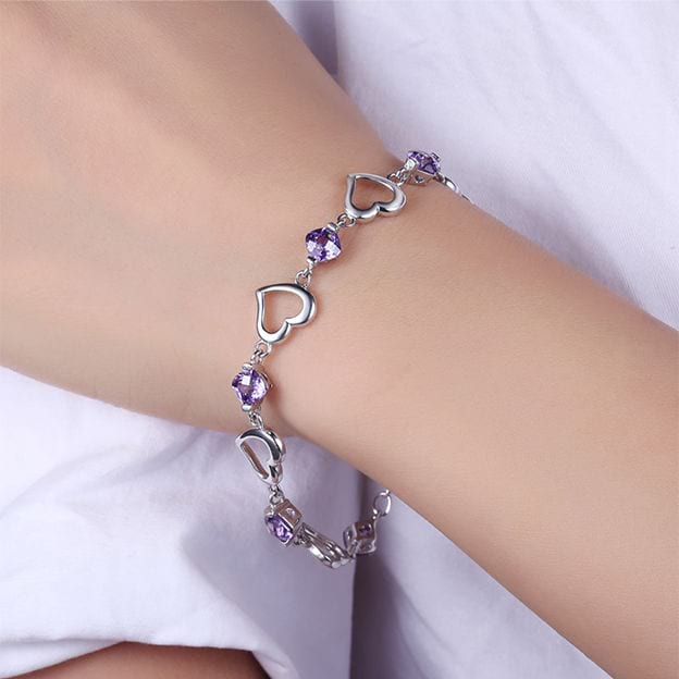 Women's Attractive 925 Sterling Silver Bracelets With Cubic Zirconia For Her