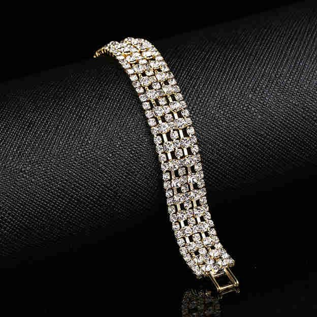 Women's Fashionable Silver Bracelets With Rhinestone For Bride
