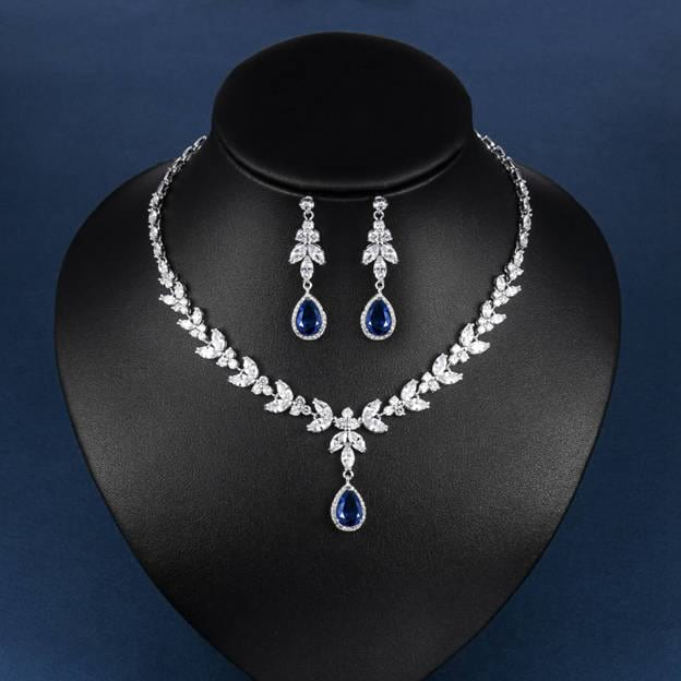 Women's Elegant Silver Sets With Rhinestone For Bride