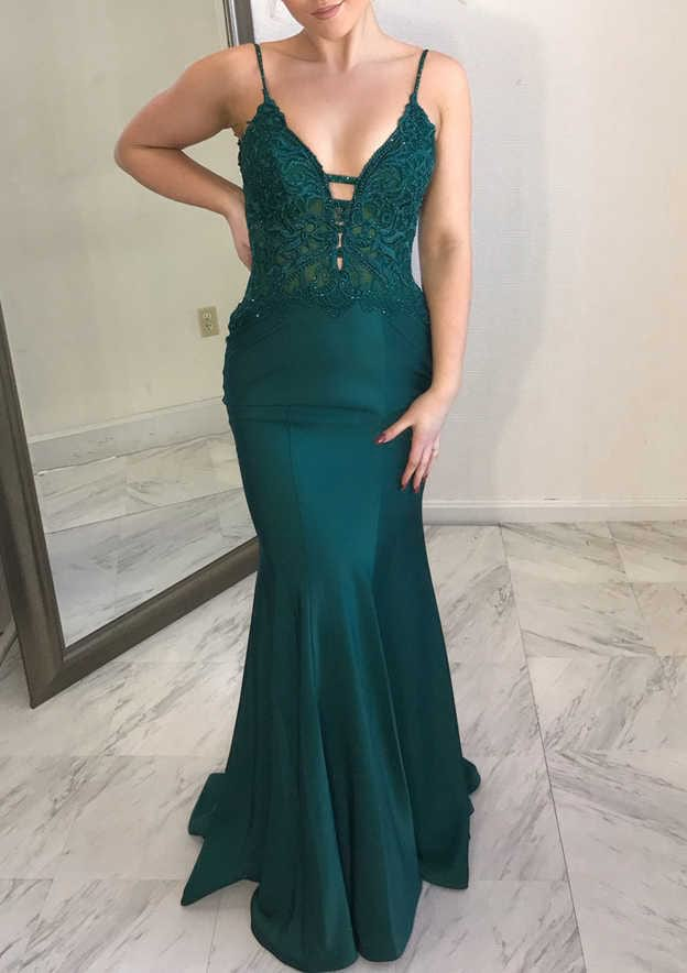 Trumpet/Mermaid Sleeveless Sweep Train Satin Prom Dress With Appliqued