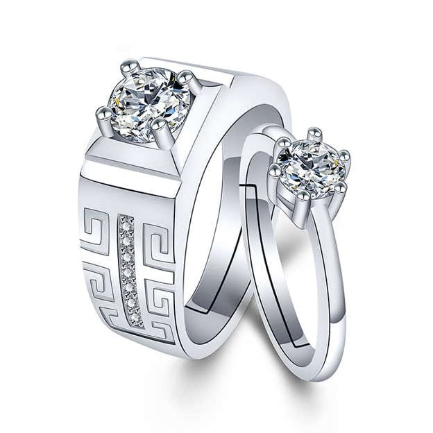 Couples' Beautiful Silver Rings With Cubic Zirconia