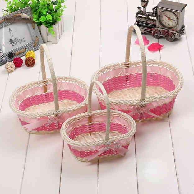 Elegant Flower Basket in Linen With Bowknot