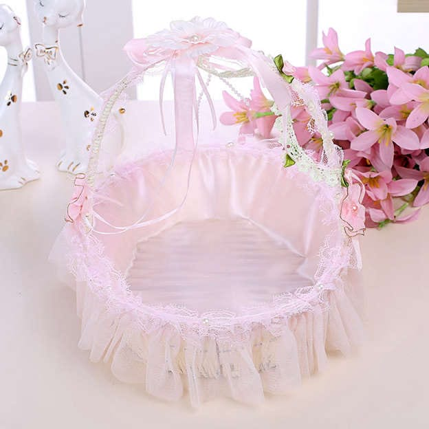 Romantic Flower Basket in Satin With Flower/Tulle