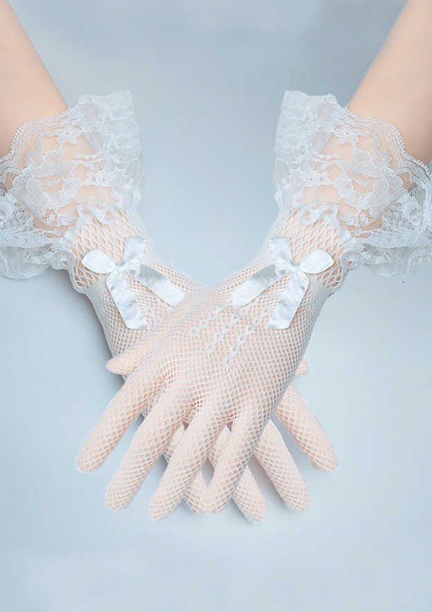Wrist Length Fingertips Tulle Bridal Gloves With Lace Bowknot