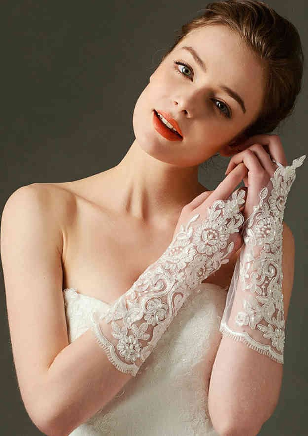 Elbow Length Fingerless Lace Bridal Gloves With Pearls