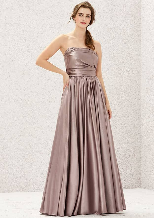 A-line/Princess Sleeveless Long/Floor-Length Charmeuse Convertible Bridesmaid Dress With Pleated