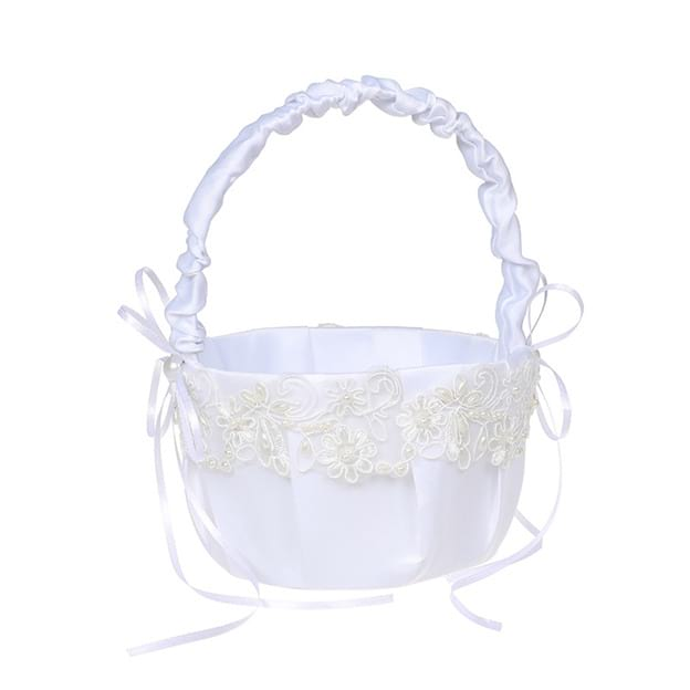 Stylish Flower Basket in Satin With Lace