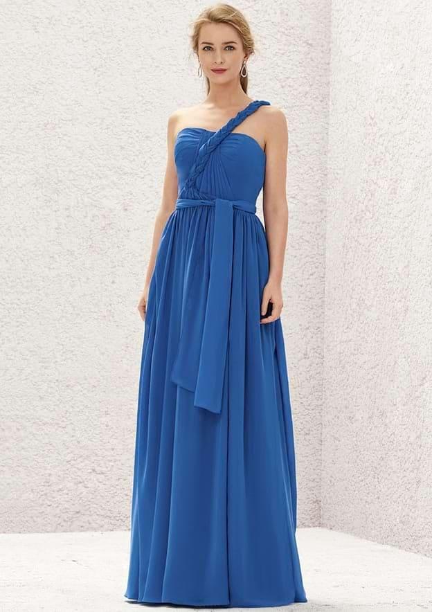 A-line/Princess Sleeveless Long/Floor-Length Chiffon Convertible Bridesmaid Dress With Pleated