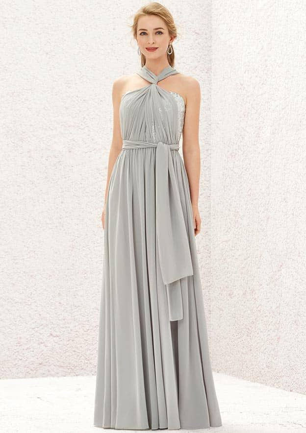 A-line/Princess Sleeveless Long/Floor-Length Chiffon/Sequined Convertible Bridesmaid Dress With Pleated