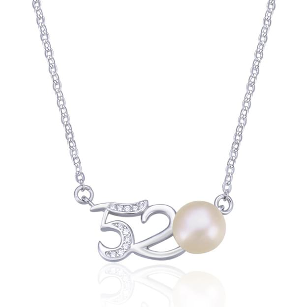 Women's Elegant Silver Necklace With Imitation Pearls