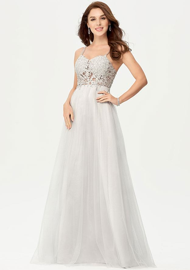 A-line/Princess Sleeveless Long/Floor-Length Tulle Prom Dress With Glitter Beading Appliqued