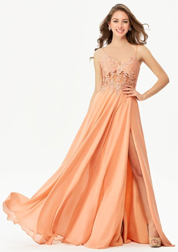 A-line/Princess Sleeveless Long/Floor-Length Chiffon Prom Dress With Split Sequins Appliqued Beading