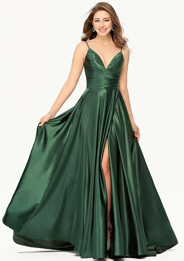 A-line/Princess Sleeveless Long/Floor-Length Charmeuse Prom Dress With Split Pleated