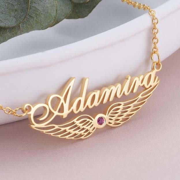 925 Sterling Silver Personalized Name Crown Necklace With Wing