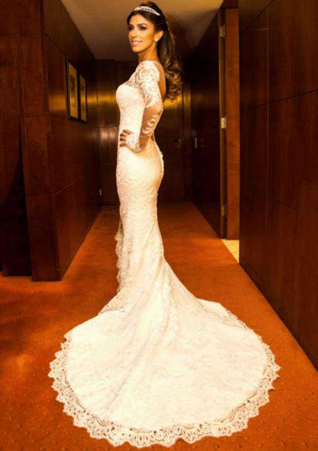 Trumpet/Mermaid Scalloped Neck Full/Long Sleeve Court Train Lace Wedding Dress With Appliqued