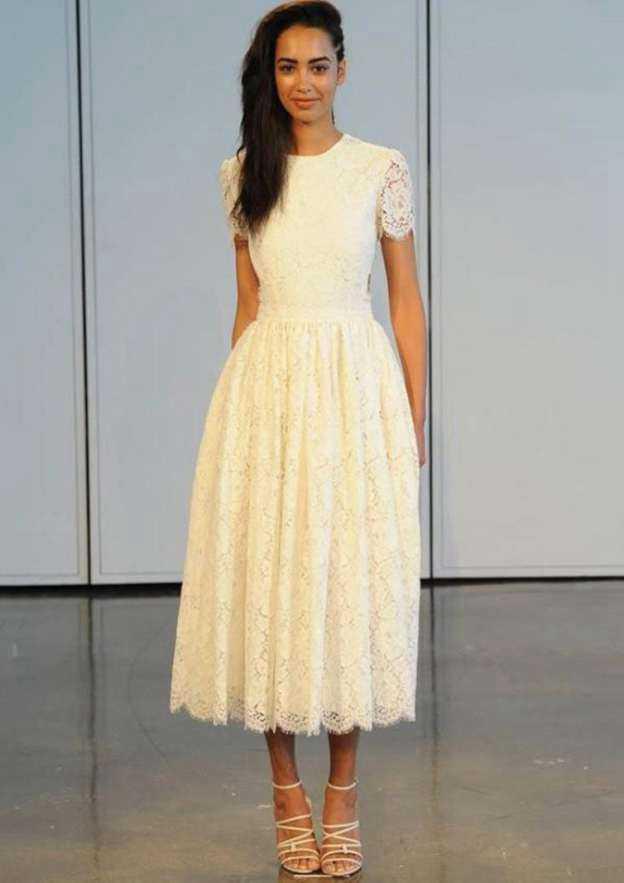 A-Line/Princess Scoop Neck Short Sleeve Tea-Length Lace Wedding Dress With Appliqued