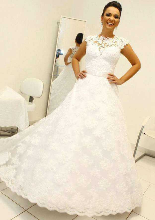 A-Line/Princess Scalloped Neck Sleeveless Sweep Train Lace Wedding Dress With Appliqued Sashes