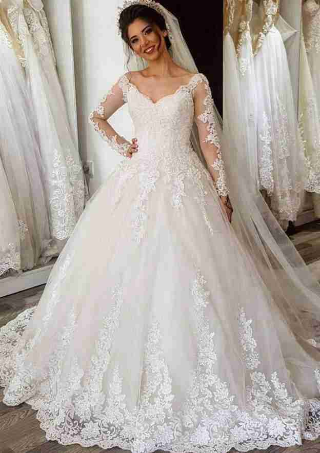 Ball Gown V Neck Full/Long Sleeve Sweep Train Lace Wedding Dress With Appliqued