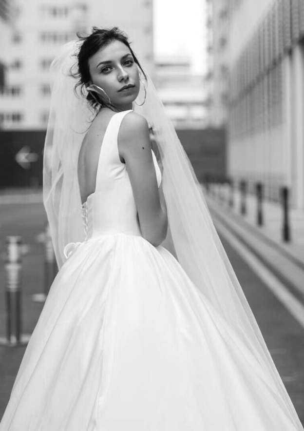 Ball Gown Square Neckline Sleeveless Chapel Train Satin Wedding Dress