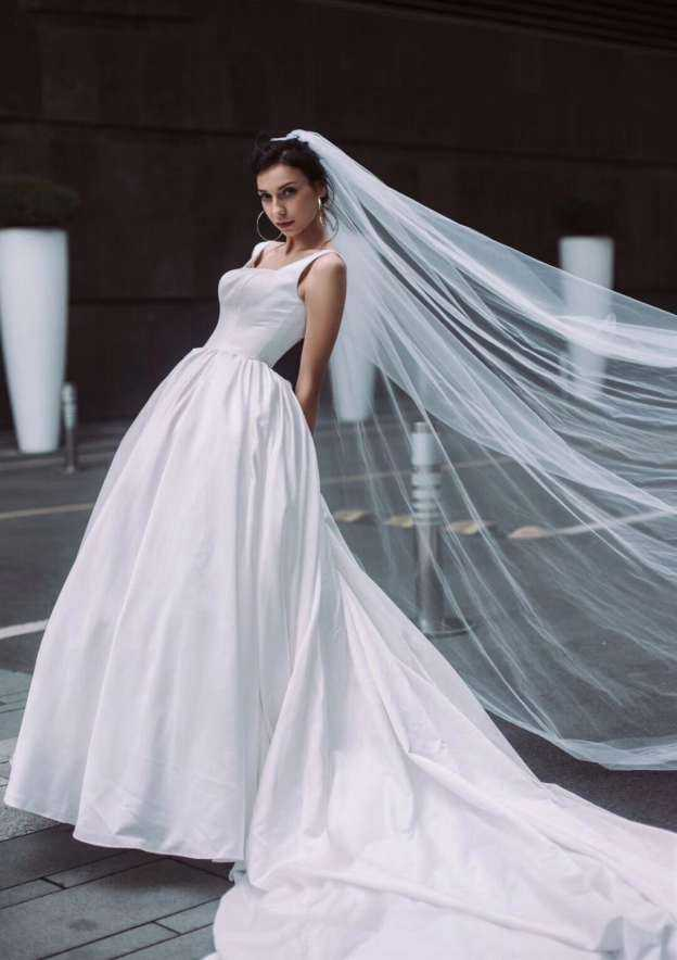 Ball Gown Square Neckline Sleeveless Chapel Train Satin Wedding Dress
