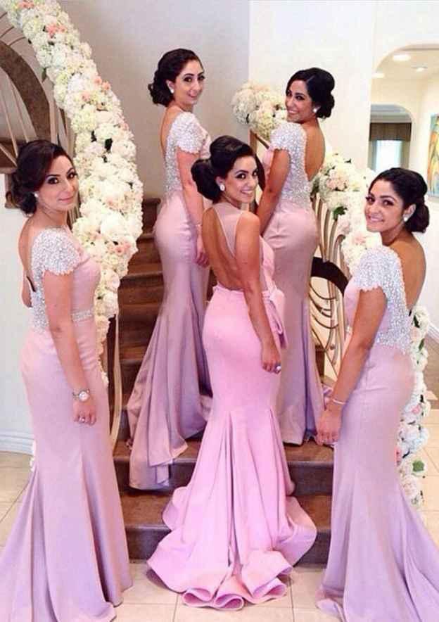 Trumpet/Mermaid Sleeveless Court Train Jersey Bridesmaid Dresses With Beading