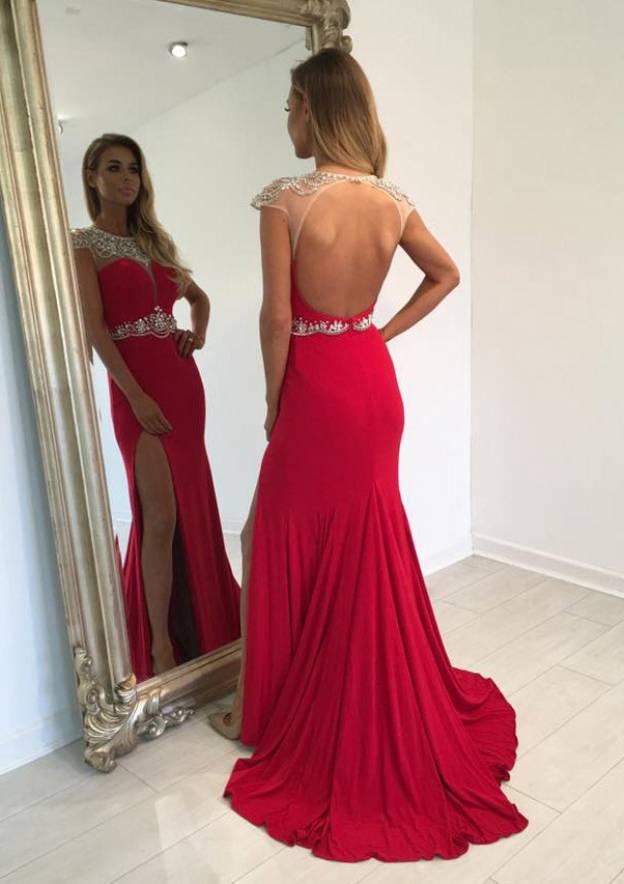 Sheath/Column Bateau Sleeveless Sweep Train Jersey Prom Dress With Rhinestone Crystal Split