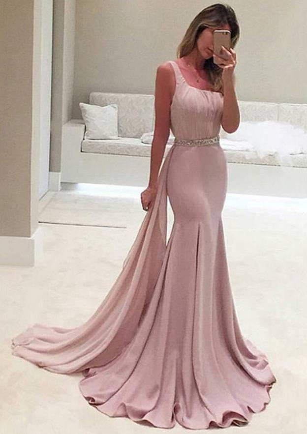 Trumpet/Mermaid One-Shoulder Sleeveless Sweep Train Chiffon Prom Dress With Waistband