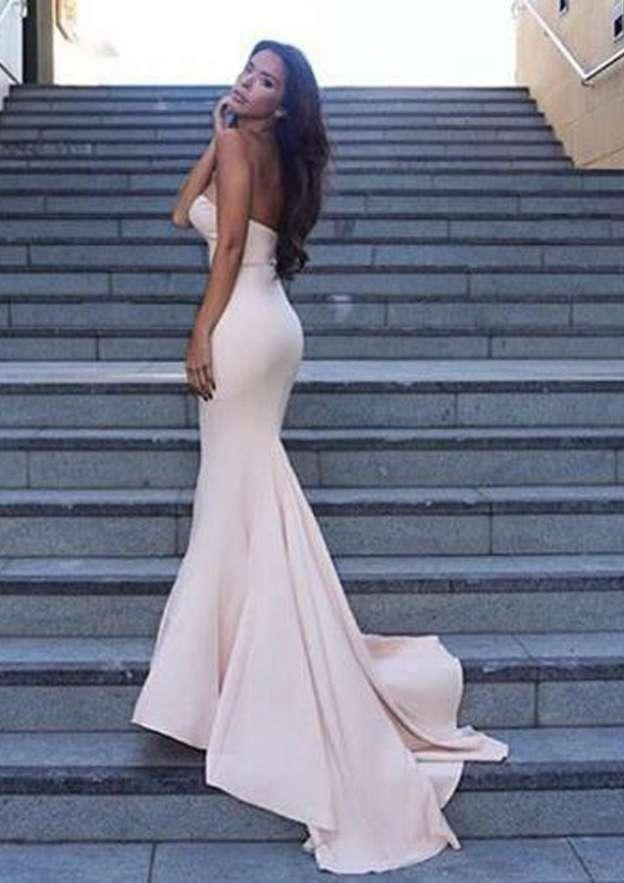 Trumpet/Mermaid Sweetheart Sleeveless Sweep Train Elastic Satin Prom Dress