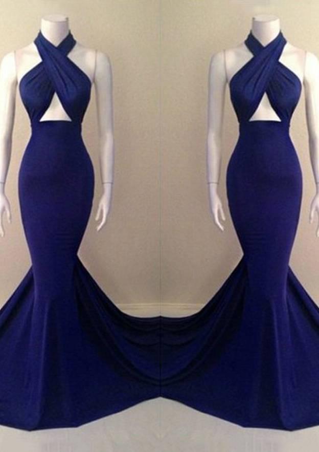 Trumpet/Mermaid Halter Sleeveless Sweep Train Jersey Prom Dress