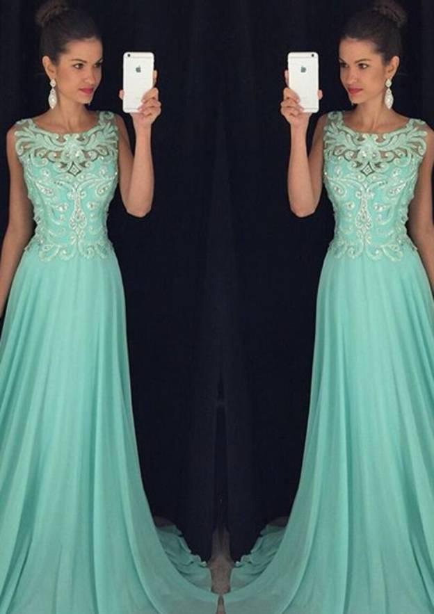 A-Line/Princess Scoop Neck Sleeveless Sweep Train Chiffon Prom Dress With Rhinestone Appliqued