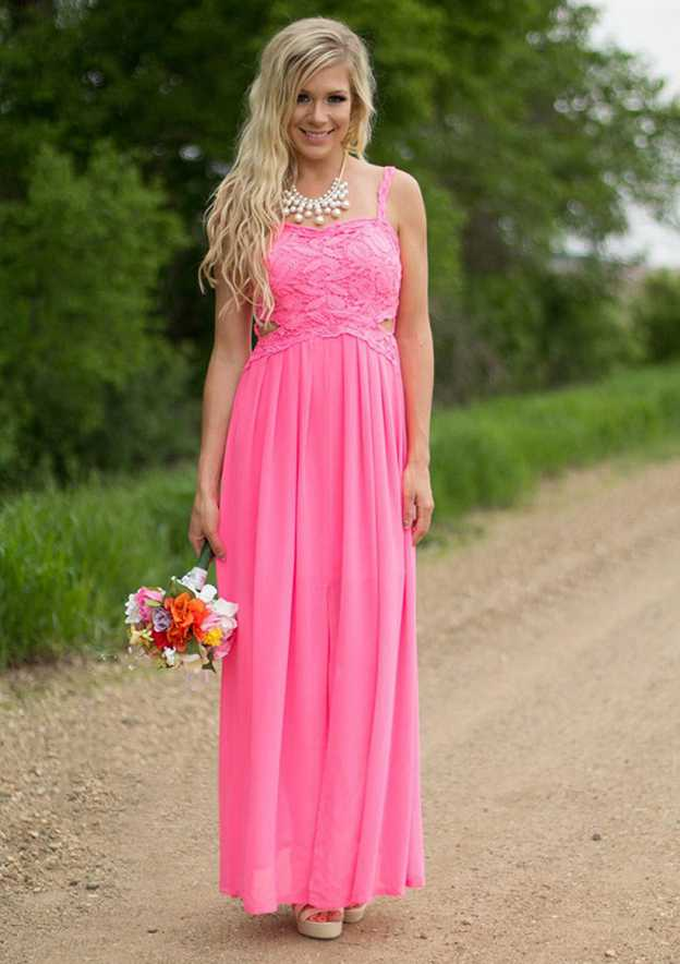 A-Line/Princess Sweetheart Sleeveless Ankle-Length Chiffon Bridesmaid Dress With Lace Pleated