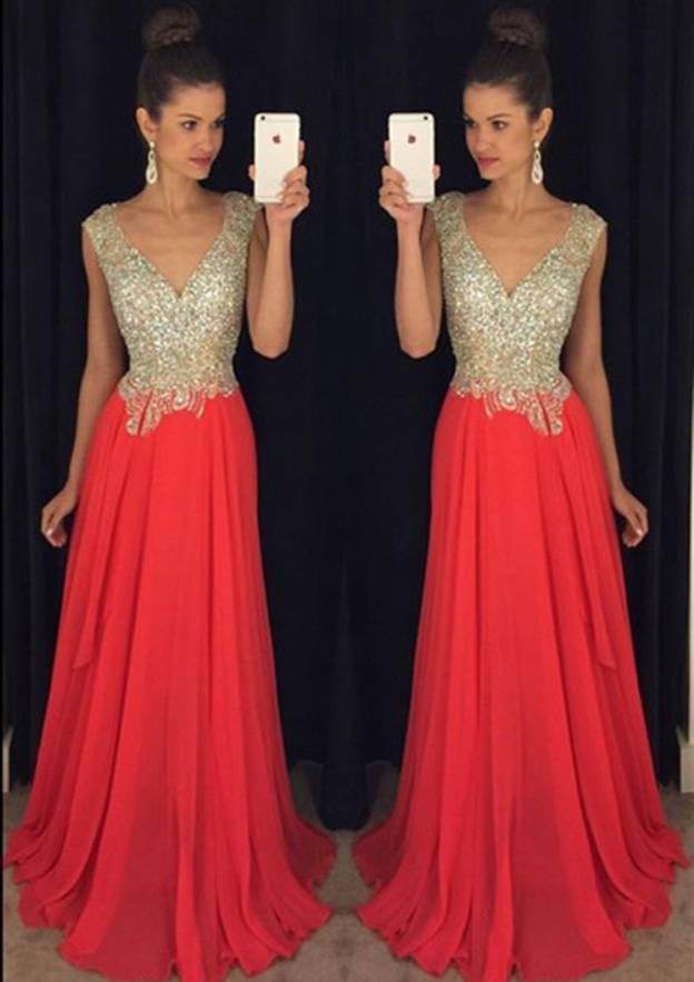 A-Line/Princess V Neck Sleeveless Sweep Train Chiffon Prom Dress With Rhinestone Beading