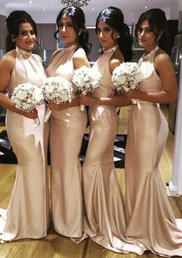 Trumpet/Mermaid Halter Sleeveless Sweep Train Charmeuse Bridesmaid Dress