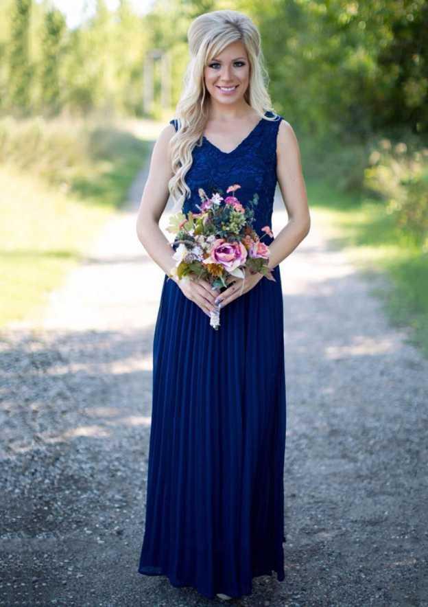 A-Line/Princess V Neck Sleeveless Long/Floor-Length Chiffon Bridesmaid Dress With Lace Pleated