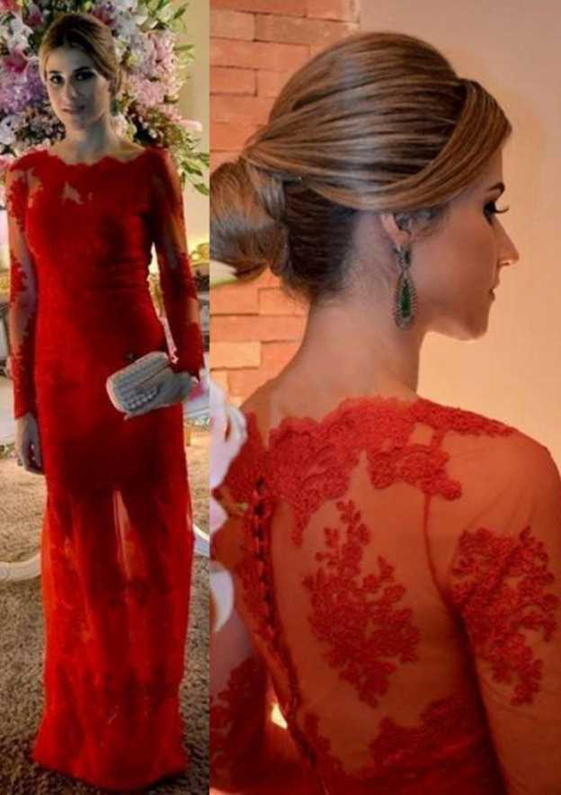 Sheath/Column Scalloped Neck Full/Long Sleeve Long/Floor-Length Lace Prom Dress With Appliqued