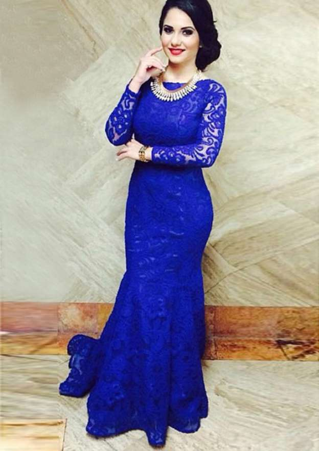 Trumpet/Mermaid Bateau Full/Long Sleeve Sweep Train Lace Mother Of The Bride Dress With Appliqued